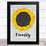 CeCe Peniston Finally Grey Script Sunflower Song Lyric Music Art Print