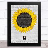 One Direction 18 Grey Script Sunflower Song Lyric Music Art Print