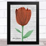 Oasis She's Electric Grey Script Watercolour Tulip Song Lyric Music Art Print