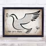 Blue October I Hope You're Happy Vintage Dove Bird Song Lyric Music Art Print