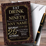 Brown & Gold Flowers 90th Customised Birthday Party Invitations