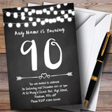 Chalk Style Lights 90th Customised Birthday Party Invitations