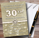 Titanium Gold And White 30Th Customised Anniversary Party Invitations