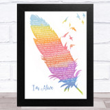 Celine Dion I'm Alive Watercolour Feather & Birds Song Lyric Music Art Print