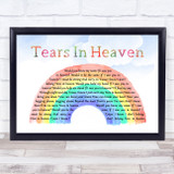 Eric Clapton Tears In Heaven Watercolour Rainbow & Clouds Song Lyric Music Art Print