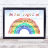 Jack Johnson Better Together Watercolour Rainbow & Clouds Song Lyric Music Art Print