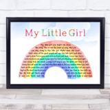 Jack Johnson My Little Girl Watercolour Rainbow & Clouds Song Lyric Music Art Print
