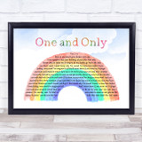 Adele One and Only Watercolour Rainbow & Clouds Song Lyric Music Art Print