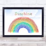Gabrielle Sunshine Watercolour Rainbow & Clouds Song Lyric Music Art Print