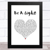 Thomas Rhett Be A Light White Heart Song Lyric Music Art Print