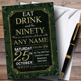 Green & Gold Flowers 90th Customised Birthday Party Invitations