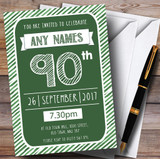 Green & White Stripy Deco 90th Customised Birthday Party Invitations