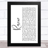 Lauren Daigle Rescue White Script Song Lyric Music Art Print