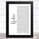 Thomas Rhett Notice White Script Song Lyric Music Art Print