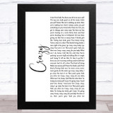Aerosmith Crazy White Script Song Lyric Music Art Print
