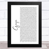 Marillion Gaza White Script Song Lyric Music Art Print