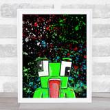 Unspeakable Youtuber Frog Splatter Art Black Children's Kids Wall Art Print