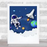 Astronaut Floating In Space Rocket Children's Kids Wall Art Print