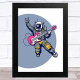 Astronaut Floating Playing Guitar Children's Kids Wall Art Print