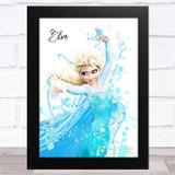 Elsa Frozen Disney Splatter Art Children's Kids Wall Art Print