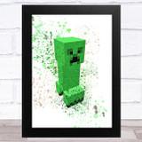 Minecraft Creeper Splatter Art Children's Kids Wall Art Print