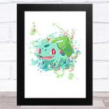 Bulbasaur Pokémon Splatter Art Children's Kids Wall Art Print