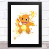 Charizard Pokémon Splatter Art Children's Kids Wall Art Print