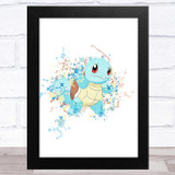 Squirtle Pokémon Splatter Art Children's Kids Wall Art Print