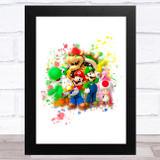Super Mario Gang Splatter Art Children's Kids Wall Art Print