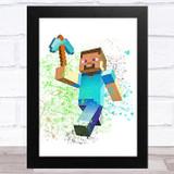 Minecraft Steve Splatter Art Children's Kids Wall Art Print