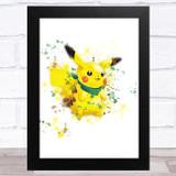 Pikachu Pokémon Splatter Art Children's Kids Wall Art Print