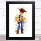 Woody Toy Story Splatter Art Children's Kids Wall Art Print