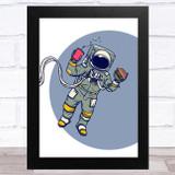 Astronaut Floating Fast Food Children's Kids Wall Art Print