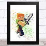 Minecraft Alex Splatter Art Children's Kids Wall Art Print