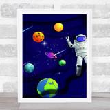 Astronaut Floating In Space Children's Kids Wall Art Print