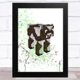 Minecraft Cow Splatter Art Children's Kids Wall Art Print