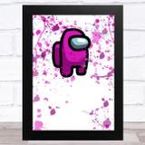 Among Us Pink Splatter Art Children's Kids Wall Art Print