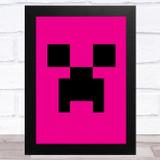 Minecraft Creeper Hot Pink Children's Kids Wall Art Print