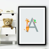 Animal Collection Letter A Children's Kids Wall Art Print