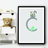 Animal Collection Letter C Children's Kids Wall Art Print