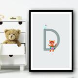 Animal Collection Letter D Children's Kids Wall Art Print