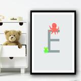 Animal Collection Letter E Children's Kids Wall Art Print