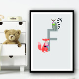 Animal Collection Letter F Children's Kids Wall Art Print