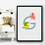Animal Collection Letter G Children's Kids Wall Art Print