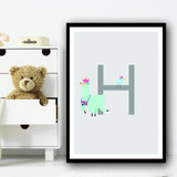 Animal Collection Letter H Children's Kids Wall Art Print