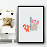 Animal Collection Letter I Children's Kids Wall Art Print