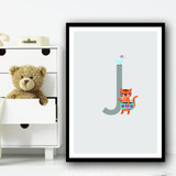 Animal Collection Letter J Children's Kids Wall Art Print