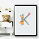 Animal Collection Letter K Children's Kids Wall Art Print