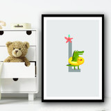 Animal Collection Letter L Children's Kids Wall Art Print
