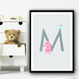 Animal Collection Letter M Children's Kids Wall Art Print